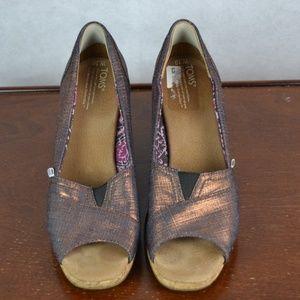 Toms Women's Wedges Size 10 Open Toe
